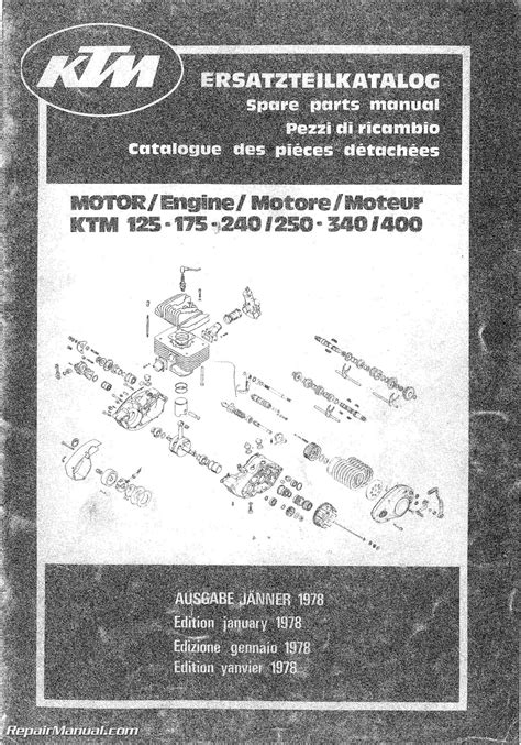 ktm       motorcycle engine spare parts manual