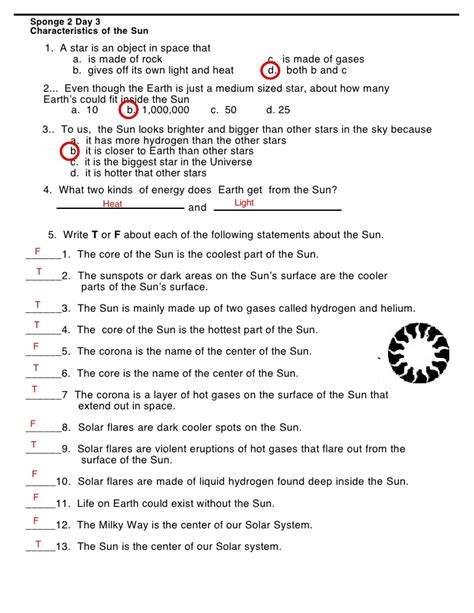 The Sun Worksheet Answers by Order Of Planets Worksheet Answers