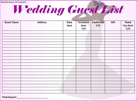 Wedding Guest List Template Free Formats Excel Word Printable Wedding Guest List Template