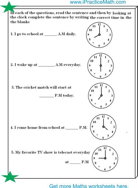 clock worksheet ipracticemaths worksheets