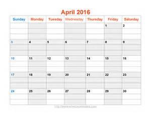 Printable Calendar Template Pdf by April 2016 Calendar Printable Template Word Pdf Image