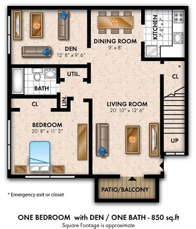 one bedroom with den floorplans apartments