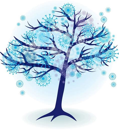 winter tree from snowflakes by the vector colourbox season tree for winter with snowflakes stock vector colourbox