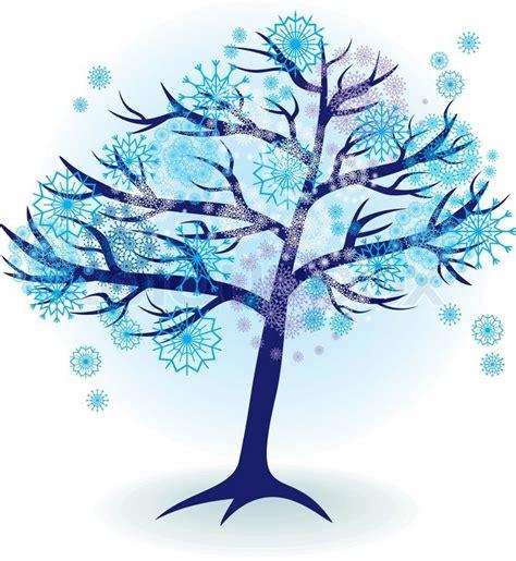 winter tree snowflakes stock vector season tree for winter with snowflakes stock vector colourbox