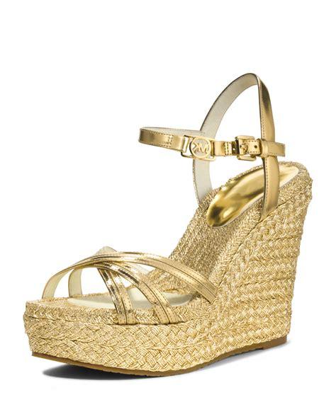mk wedge sandals michael michael kors cicely metallic wedge sandal in gold