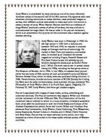 Andy Warhol Essay by Andy Warhol Recovered Essay Gcse Marked By Teachers