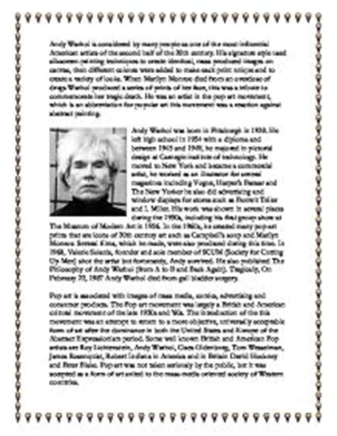 andy warhol research paper andy warhol recovered essay gcse marked by