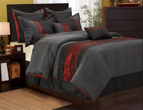 red black and grey bedding nanshing corell comforter set bed in a bag 7 piece red