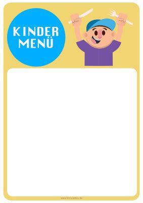 speisekarte kindermenue  vorlage muster zum ausdrucken