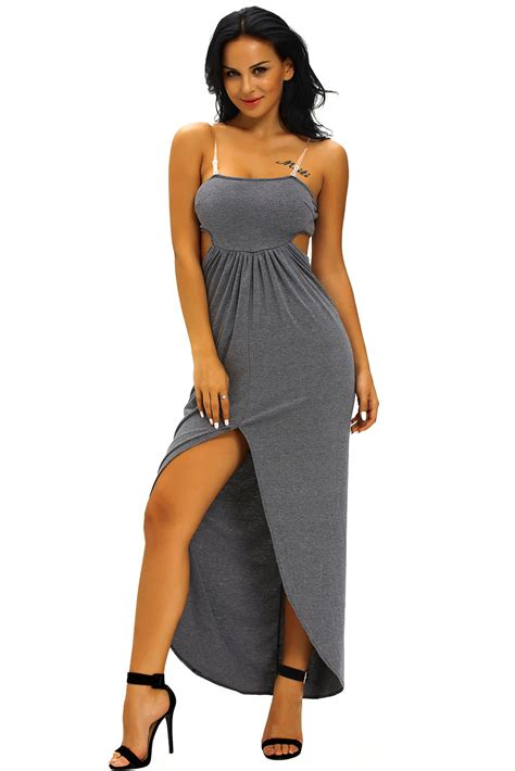 Hollow Out Dress wholesale charcoal draped hollow out maxi dress
