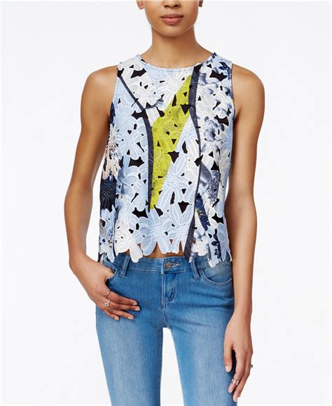 Bar Iii Tops by Bar Iii Sleeveless Floral Lace Tank Top Only At Macy S Shopstyle Co Uk