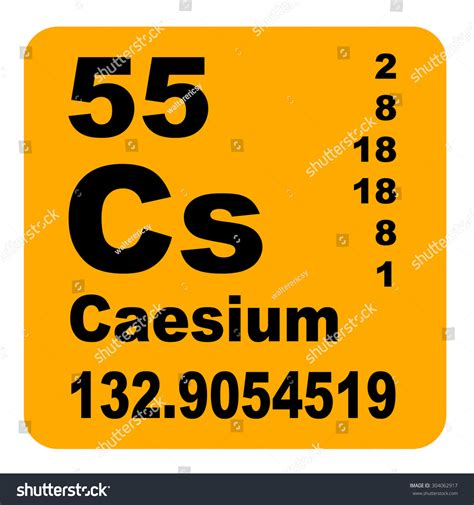 Cesium Periodic Table by Caesium Periodic Table Of Elements Stock Photo 304062917