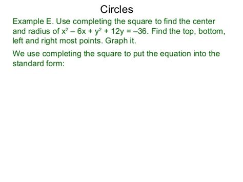 conic sections completing the square 32 conic sections circles and completing the square