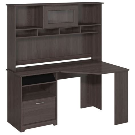 grey desk with hutch bush cabot corner desk with hutch in heather gray cab008hrg