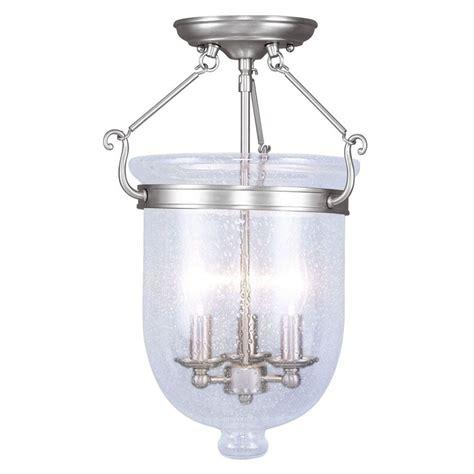 flush mount ceiling light seeded glass illumine providence 3 light brushed nickel incandescent
