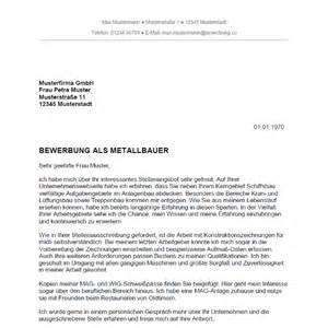 Bewerbung Initiativbewerbung Betriebswirt Bewerbung Als Metallbauer Metallbauerin Bewerbung Co