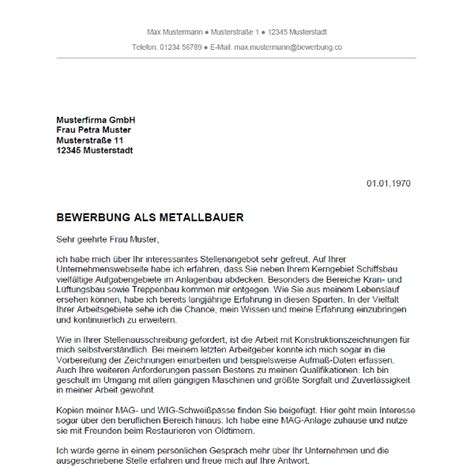 Bewerbungsschreiben Ausbildung Lidl bewerbung als metallbauer metallbauerin bewerbung co