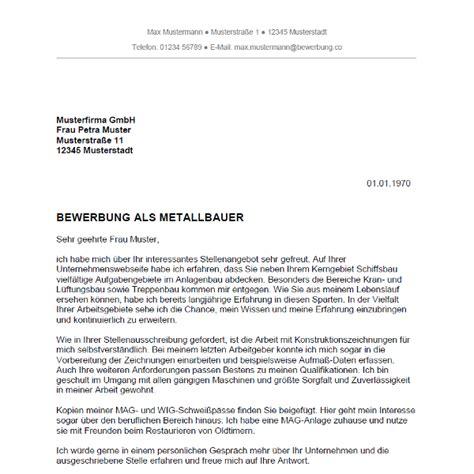 Bewerbung Als Metallbauer bewerbung als metallbauer metallbauerin bewerbung co