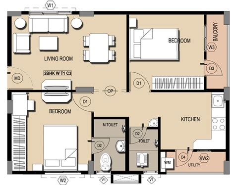 home design plans 2 bhk floor plans