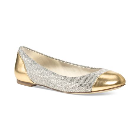 gold shoes flats michael kors shala ballet flats in gold gold glitter lyst