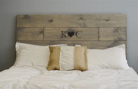 personalised headboards rustic wood headboard with custom wood burned initials and