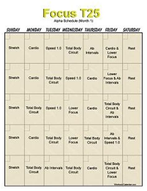 Calendrier T 25 1000 Ideas About T25 Workout On Workout