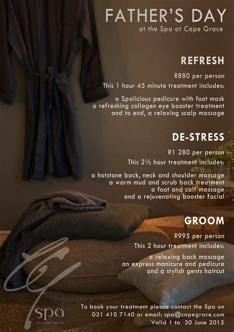 fathers day sa spa specials at cape grace for s day