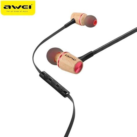 Awei Earphone Wooden Dynamic With Mic Es 60ty Awei Es80ty Wooden Dynamic Earphones In Ear Stereo Subwoofer Bass Headphones With Mic