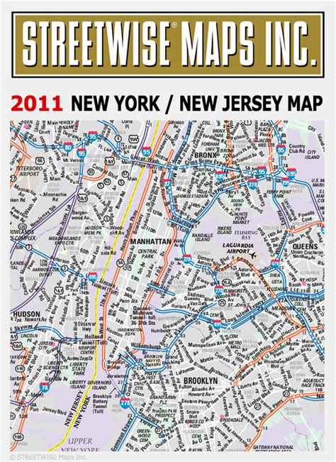 New York New Jersey Map by Streetwise 174 Maps