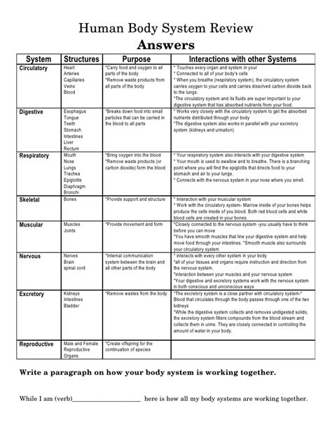 Systems Chart Worksheet Answers by Systems Chart Answers Www Pixshark Images