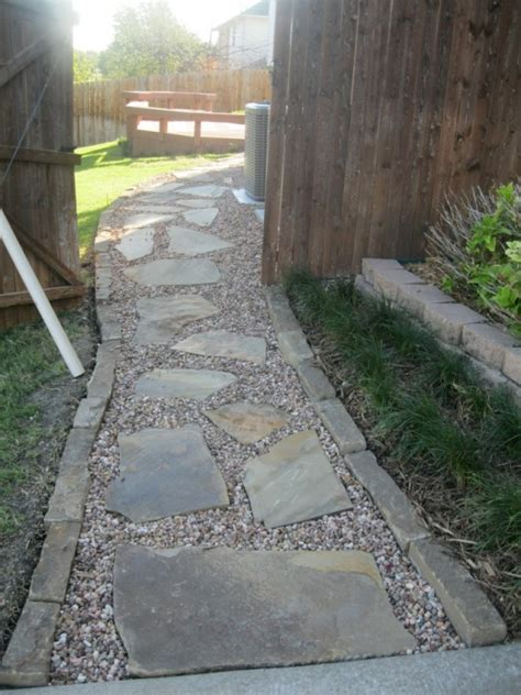 flagstone path in gravel stone walkways are a great solution for uneven yards or areas with