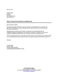 apology and tender of compensation template sle