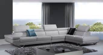 Gray Modern Sofa Divani Casa Modern Light Grey Italian Leather Sectional Sofa