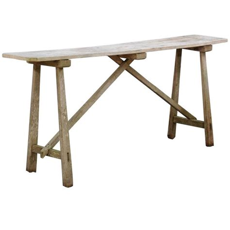 Trestle Console Table Rustic Pine Narrow Console Table With Finish And Trestle Base At 1stdibs