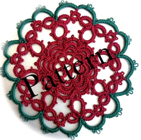 pdf tatting pattern christmas rose motif or ornament