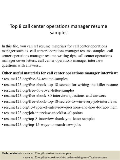 Resume Operations Manager Call Center top 8 call center operations manager resume sles