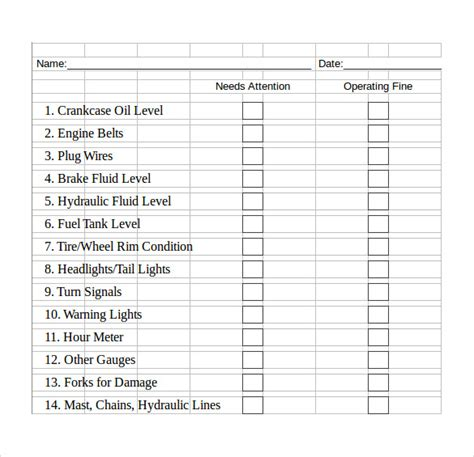 template of checklist excel checklist template 6 free sles exles formats