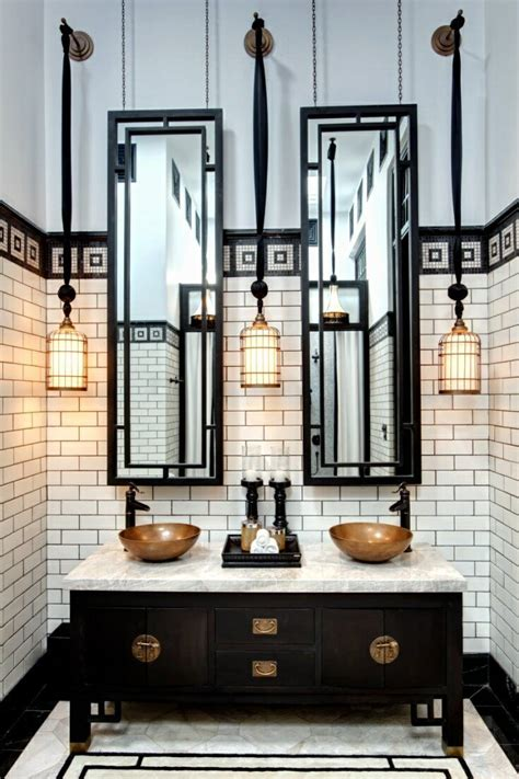 black and white industrial 1920s gatsby bathroom with