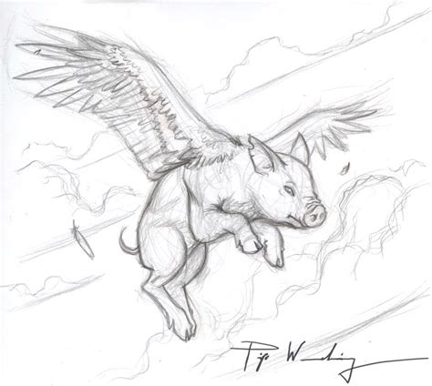 Piya's Studio: When Pigs Fly.... Flying Pig Drawing
