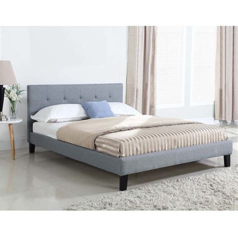 New Grey Button Tufted Queen Bed Frame Ebay Tufted Bed Frame