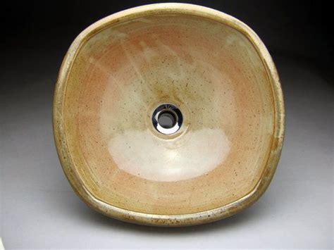 Handmade Pottery Vessel Sinks - handmade ceramic vessel sink square with sculpted design