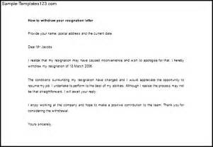 Withdrawal Letter Of Documents How To Withdraw Your Resignation Letter Word Exle Sle Templates