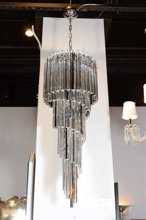 Cascading Chandelier Cascading Spiral Clear And Black Murano Glass Camer Chandelier At 1stdibs