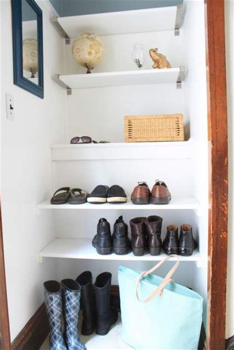 diy shoe shelves diy built in shoe shelves in a small entry 187 decor adventures