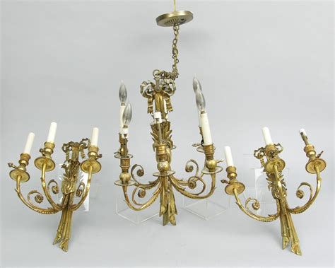 Chandelier With Matching Wall Sconces a brass chandelier and two matching wall sconces 11 16 06 sold 701 5