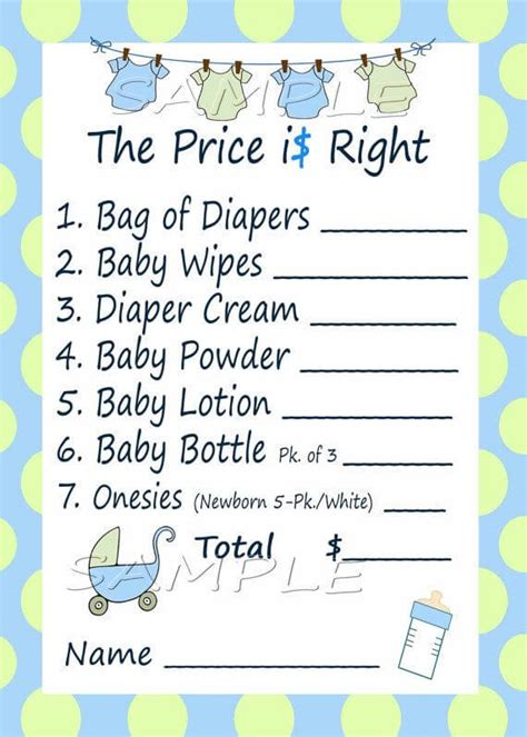 the price is right baby shower game baby shower ideas