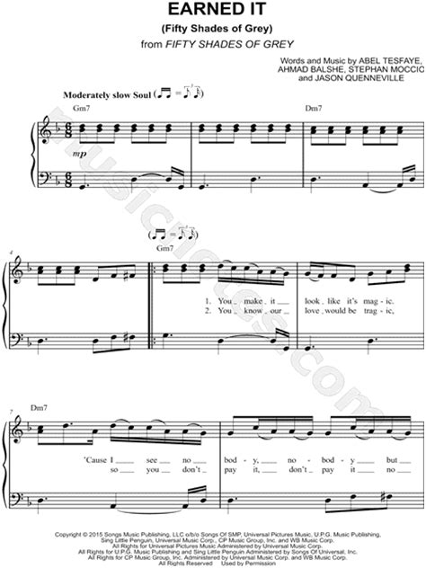 printable lyrics to earned it the weeknd wicked games piano sheet music free the