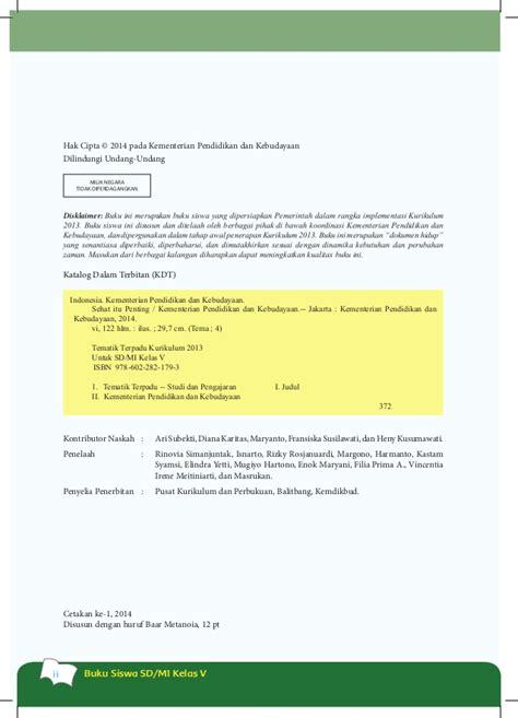 Buku Teks Tematik Terpadu Tema Sehat Itu Penting Untuk Sd Mi Kelas V buku siswa kls 5 tema 4