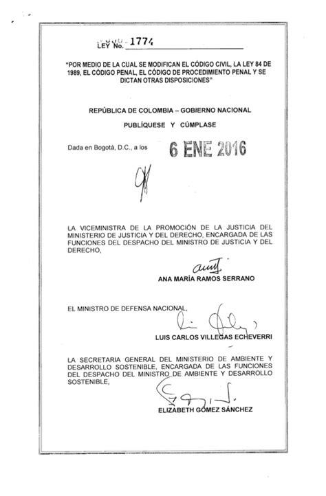 ley 1774 de 2016 6 de enero de 2016 ley 1774 de enero 6 de 2016