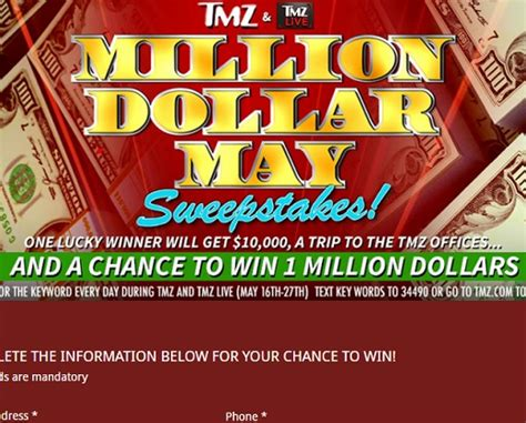 Million Dollar Contests And Sweepstakes - tmz million dollar may sweepstakes sweeps maniac